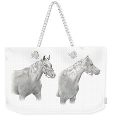 Weekender Tote Bag featuring the drawing Two Horse Study by Elizabeth Lock