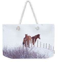 Two Horses In The Snow Weekender Tote Bag
