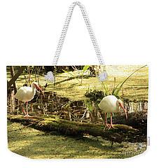 Two Ibises On A Log Weekender Tote Bag by Carol Groenen