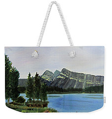 Weekender Tote Bag featuring the painting Two Jack Lake by Linda Feinberg