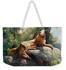 Two Lions - Forever And Always Together Weekender Tote Bag by Svitozar Nenyuk