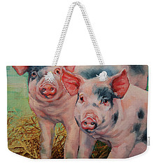 Two Little Pigs  Weekender Tote Bag by Margaret Stockdale
