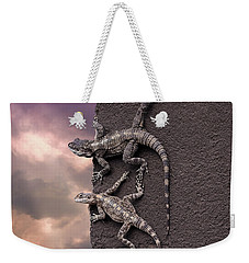 Two Lizards On The Edge Of The Roof Weekender Tote Bag
