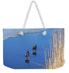 Two Mallards On Ice Weekender Tote Bag