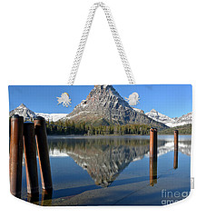 Weekender Tote Bag featuring the photograph Two Med Posts Color by Adam Jewell