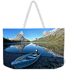 Weekender Tote Bag featuring the photograph Two Medicine Boat 2 by Adam Jewell