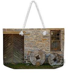 Two Mill Stones Against Building Weekender Tote Bag