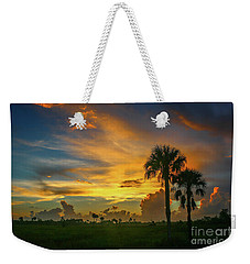 Two Palm Silhouette Sunrise Weekender Tote Bag