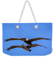 Two Pelicans Over The Beach Weekender Tote Bag