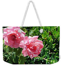 Two Pink Roses Version 1 Weekender Tote Bag