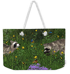 Two Raccoons  With Butterflys Weekender Tote Bag by Walter Colvin