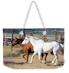 Weekender Tote Bag featuring the digital art Two Ranch Horses Galloping Into The Corrals by Nadja Rider