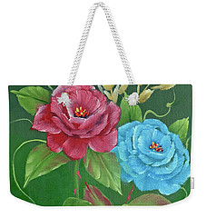 Two Roses Red And Blue Weekender Tote Bag by Jimmie Bartlett