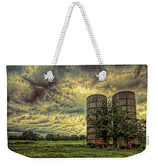 Weekender Tote Bag featuring the photograph Two Silos by Lewis Mann