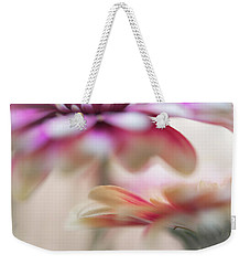 Weekender Tote Bag featuring the photograph Two Souls 1. Macro Gerbera by Jenny Rainbow
