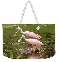Two Spoonbills In Pond Weekender Tote Bag