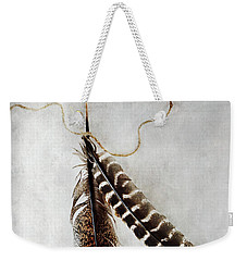 Two Tattered Turkey Feathers Weekender Tote Bag by Stephanie Frey