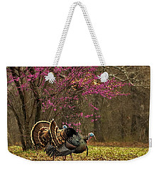 Two Tom Turkey And Redbud Tree Weekender Tote Bag by Sheila Brown