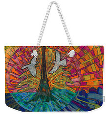 Weekender Tote Bag featuring the painting Two Turtle Doves by Denise Weaver Ross