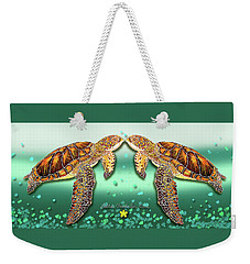 Weekender Tote Bag featuring the painting Two Turtles by Debbie Chamberlin