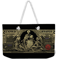 Weekender Tote Bag featuring the photograph Two U.s. Dollar Bill - 1896 Educational Series In Gold On Black  by Serge Averbukh
