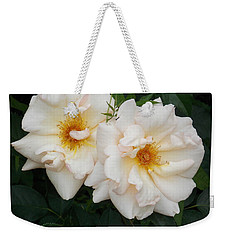 Two White Flowers Weekender Tote Bag by Catherine Gagne