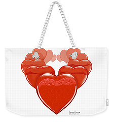 Weekender Tote Bag featuring the digital art Two Hearts Become One by Thomas J Herring