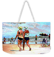 Weekender Tote Bag featuring the painting Two Women Walking On The Beach by Stan Esson