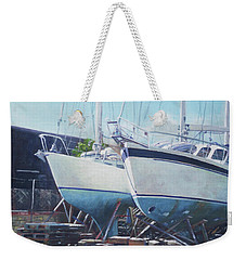 Two Yachts Receiving Maintenance In A Yard Weekender Tote Bag by Martin Davey