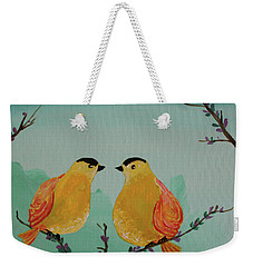Two Yellow Chickadees Weekender Tote Bag