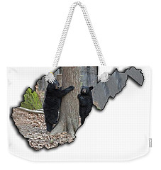 Two Young Black Bear Standing By Tree Weekender Tote Bag