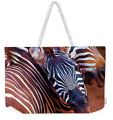 Weekender Tote Bag featuring the mixed media Two Zebras Playing With Each Other by OLena Art Brand
