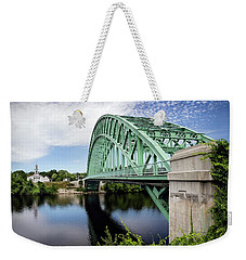 Weekender Tote Bag featuring the photograph Tyngboro Bridge, First Parish Meeting House by Betty Denise