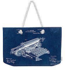Type Writing Machine Patent From 1896 - Blue Weekender Tote Bag