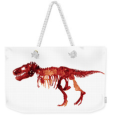 Tyrannosaurus Rex Skeleton Poster, T Rex Watercolor Painting, Red Orange Animal World Art Print Weekender Tote Bag