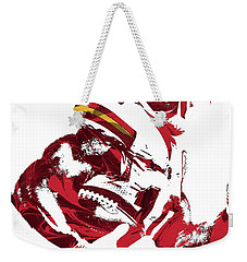 Weekender Tote Bag featuring the mixed media Tyreek Hill Kansas City Chiefs Pixel Art 1 by Joe Hamilton