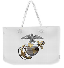 U S M C Eagle Globe And Anchor - C O And Warrant Officer E G A Over White Leather Weekender Tote Bag