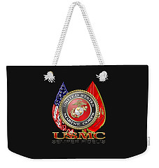 U. S. Marine Corps U S M C Emblem On Black Weekender Tote Bag