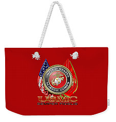U. S. Marine Corps U S M C Emblem On Red Weekender Tote Bag