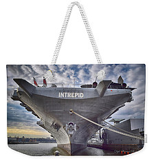 U S S   Intrepid's Bow  Weekender Tote Bag