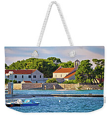 Ugljan Island Village Old Church And Beach View Weekender Tote Bag by Brch Photography