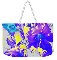 Weekender Tote Bag featuring the photograph Ultraviolet Daylilies by Shawna Rowe