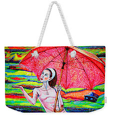 Weekender Tote Bag featuring the painting Umbrella.girl by Viktor Lazarev