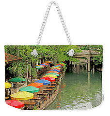 Weekender Tote Bag featuring the photograph Umbrellas Along River Walk - San Antonio by Art Block Collections
