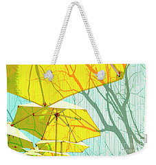 Umbrellas Yellow Weekender Tote Bag by Deborah Nakano