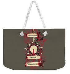 Weekender Tote Bag featuring the digital art Unbowed Unbent Unbroken by Christopher Meade