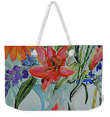 Weekender Tote Bag featuring the painting Uncontainable by Beverley Harper Tinsley