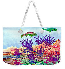Weekender Tote Bag featuring the painting Undaunted Urchins by Adria Trail