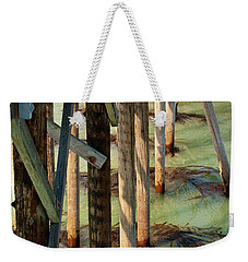 Weekender Tote Bag featuring the photograph Under San Simeon Pier by Art Block Collections