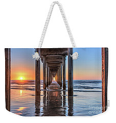 Under Scripps Pier At Sunset Weekender Tote Bag
